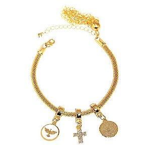Pulseira Berloque Religiosa Cruz Crucifixo Folheado Ouro 18k