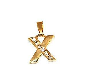 Pingente Inicial Nome Letra X Folheado  Ouro 18k Aprox 1,5cm