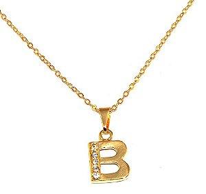 Colar Pingente Inicial Nome B Iniciais Letra Folheado Ouro