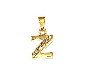 Pingente Inicial Nome Letra Z Folheado  Ouro 18k Aprox 1,5cm