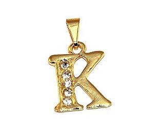 Pingente Inicial Nome Letra K Folheado Ouro 18k Aprox 1,5cm