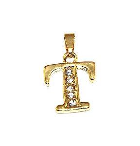 Pingente Inicial Nome Letra T Folheado Ouro 18k Aprox 1,5cm