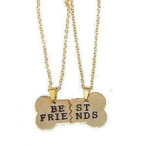 2 Colares Best Friends Amizade Folheado A Ouro 18k - Novo