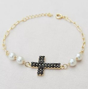 Pulseira Pingente Cruz Crucifixo Com Perolas Folheado A Ouro