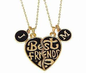 Colar E Pingente Best Friends Inicial Companheiras Folheado