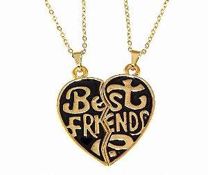 Colar E Pingente Best Friends Companheiras Fieis Folheado