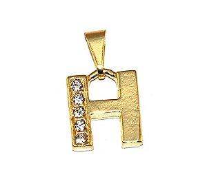Pingente Inicial Nome Letra H Folheado Ouro 18k Aprox 1,5cm