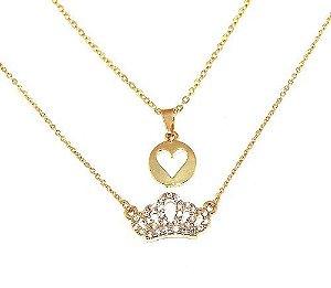 Colar Duplo Pingente Coroa Coração Folheado Ouro 18k