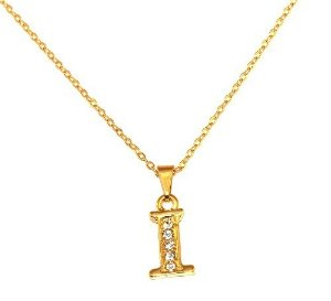 Colar Pingente Inicial Nome I Iniciais Letra Folheado Ouro