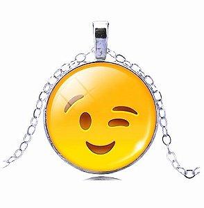Colar Emoticons Emojis Smiley Entendido Folheado Prata