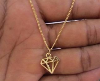 Gargantilha Colar Diamante Folheado A Ouro 18k