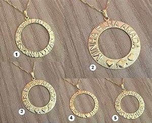Kit Revenda Atacado 100 Colares Mandala Folheadas A Ouro 18k