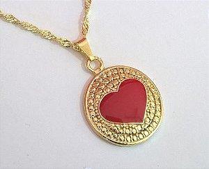 Colar Com Pingente Coração Detalhe Vermelho Folheada Ouro