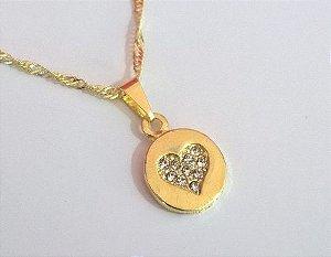 Colar E Pingente Medalha Coração No Meio Folheada Ouro 18k