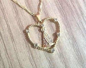 Colar Amor Fé Nossa Senhora Aparecida Folheado A Ouro 18k