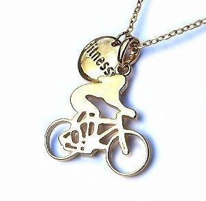 Colar Pingente Ciclista Fitness Ciclismo Folheado Ouro 18k
