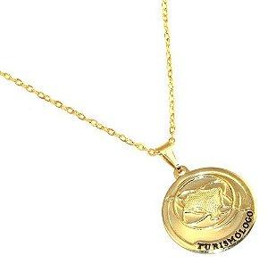Colar Medalha Profissão Turismo Folheado Ouro 18k