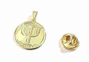 Broche Medalha De Psicologia  /psicologa Folheado A Ouro 18k