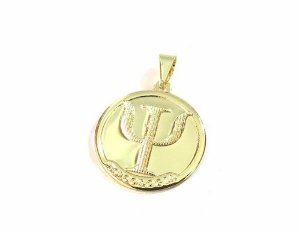 Pingente Medalha De Psicologia / Psicologa Folheada A Ouro