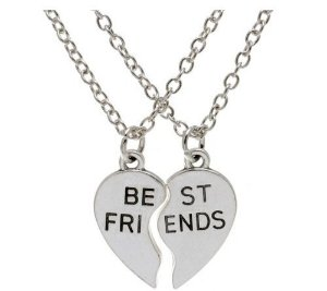 Colar Amizade Best Friends Sempre Amigas Cor Níquel 2 Pçs