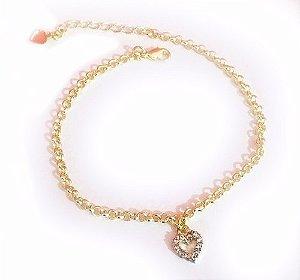 20 Pulseiras Coração Pequeno Cristal Vazado Folheada Ouro