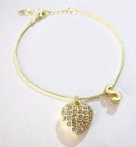 16 Pulseiras Inicial Com Coração Grande Strass Folheado A Ouro
