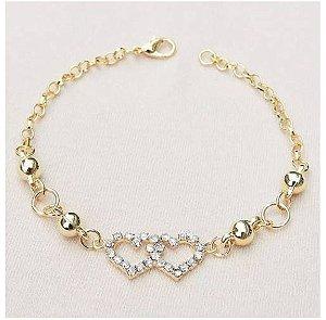 13 pulseiras Madrinhas Corações com bolinhas Folheado a Ouro