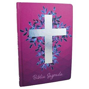 BÍBLIA NAA CAPA DURA CRUZ PRATA - VINHO