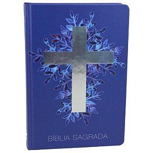 BÍBLIA NAA CAPA DURA CRUZ PRATA - AZUL