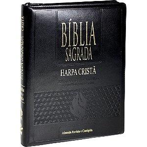 BÍBLIA LETRA GIGANTE HARPA LUXO ÍNDICE ZÍPER