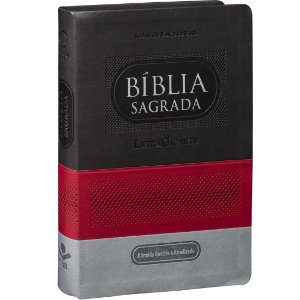 BÍBLIA LETRA GIGANTE CINZA ESCURO/CLARO/VERMELHO