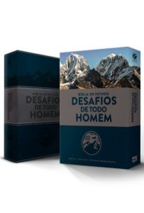 BÍBLIA DE ESTUDO DESAFIOS DE TODO HOMEM - AZUL E CINZA