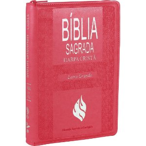 BÍBLIA RC COM HARPA ROSA ESCURO