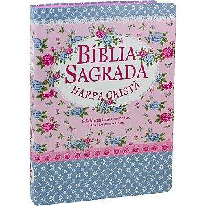 BÍBLIA C/ HARPA CRISTÃ LETRA GIGANTE FLORIDA AZUL