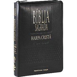 BÍBLIA LETRA GRANDE RC COM HARPA ZÍPER PRETA