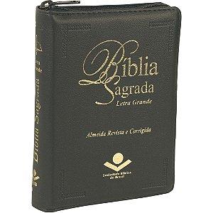BÍBLIA LETRA GRANDE RC COM ZÍPER PRETA
