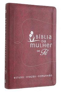 BÍBLIA DA MULHER DE FE  NVI - COURO VERMELHO