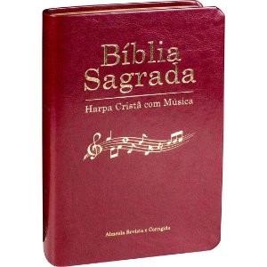 BÍBLIA COM HARPA E MÚSICA-VINHO