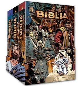 BÍBLIA KINGSTONE EM QUADRINHOS BOX COM 3 VOLUMES