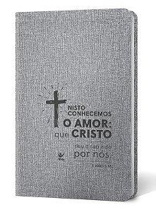 BIBLIA AEC CRUZ LUXO CINZA
