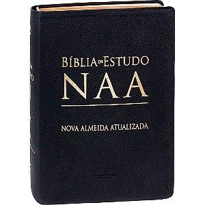 BÍBLIA DE ESTUDO NAA CAPA EM COURO PRETA
