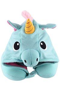 Almofada de pescoço com Touca Kigurumi Unicórnio Azul