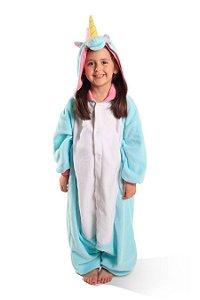 Kigurumi Unicórnio Azul Pijama Modelo  Infantil e Adulto