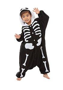 Esqueleto Caveira Preta Pijama Kigurumi Fantasia