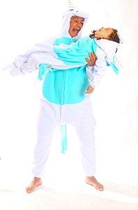Unicórnio Branco e Azul com Asas Pijama Kigurumi Fantasia