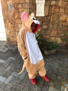 Ratinho Meigo Bege Pijama Kigurumi Fantasia