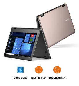 "Notebook 2x1 Multilaser M11W Intel QuadCore 1.44GHz, 2Gb-ram, 32GB, Webcam, HDMI, Tela 11.6"" Touch, Windows 10, Dourado"