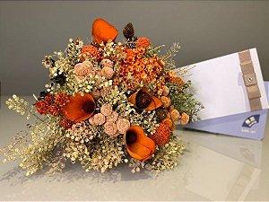 Kit Voucher Day Spa Beleza com Bouquet de Flores Laranjas