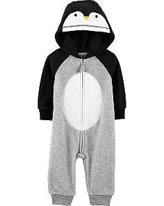 Macacão Fleece Carters com Capuz Pinguim