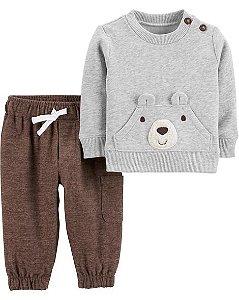 Conjunto Carters 2 Peças  Fleece  calça e blusaPullover Urso